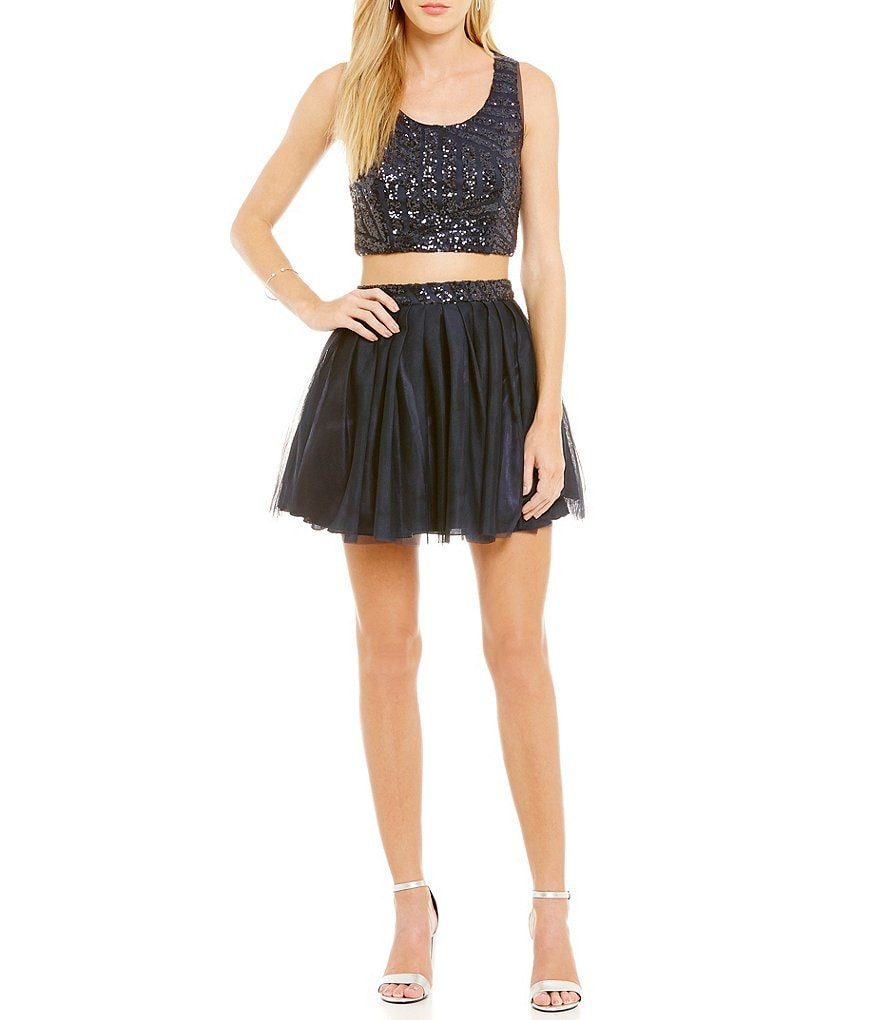 B. Darlin Tie Cut-Out Back Sequin Top Two-Piece Dress