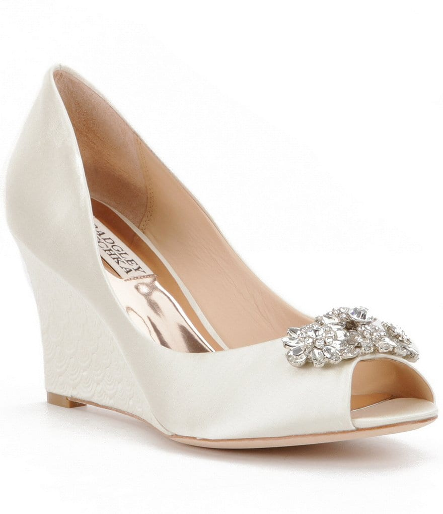 Badgley Mischka Dara Jeweled Satin Peep Toe Wedges