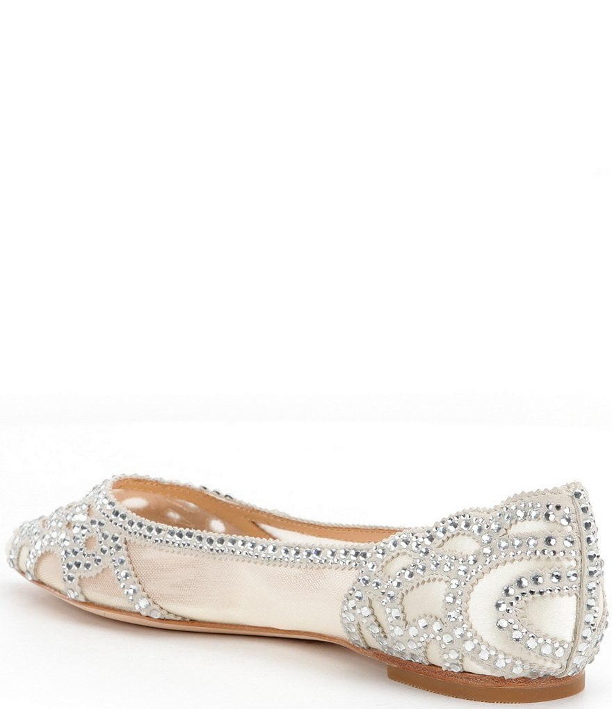 13b398daf48d hot sale New Arrival Badgley Mischka Gigi Rhinestone-Embellished Pointed-Toe  Flats Women Shoes