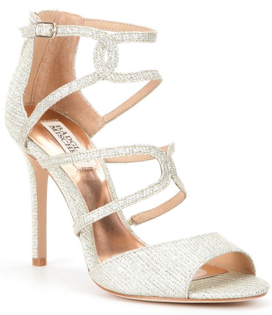 Badgley Mischka Devon Metallic Strappy Dress Sandals