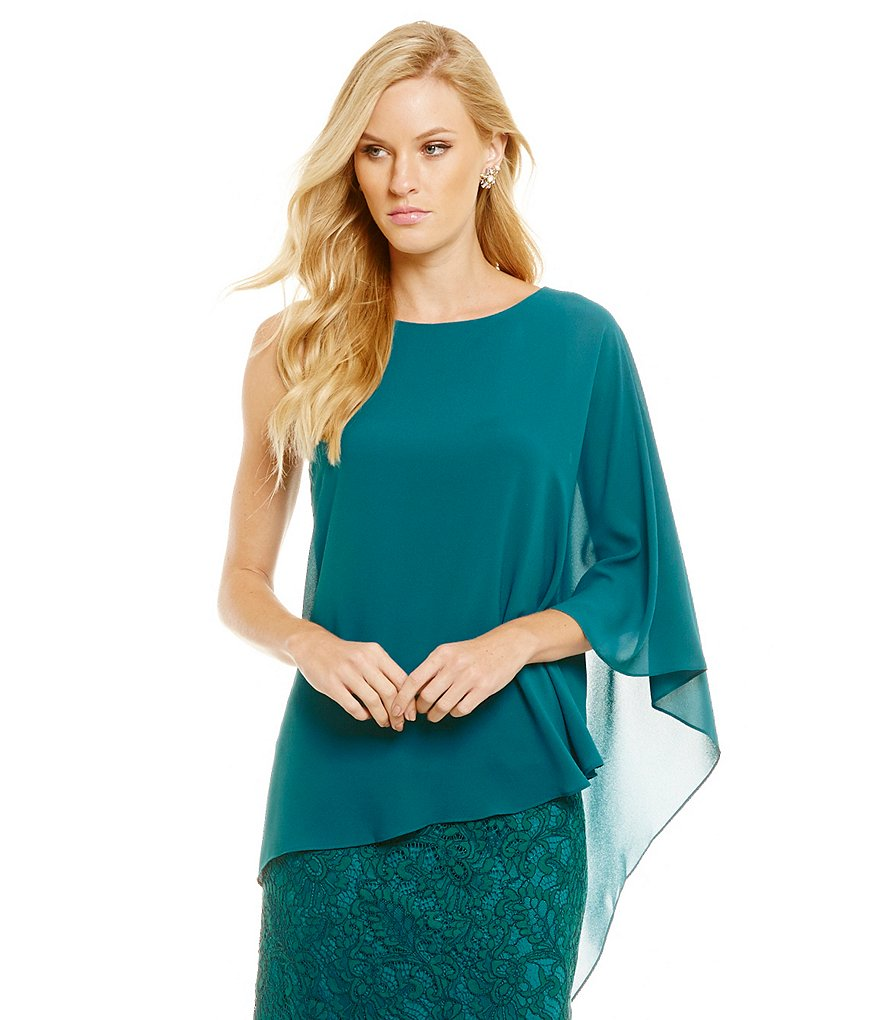 Belle Badgley Mischka Sydney One Shoulder Georgette Top