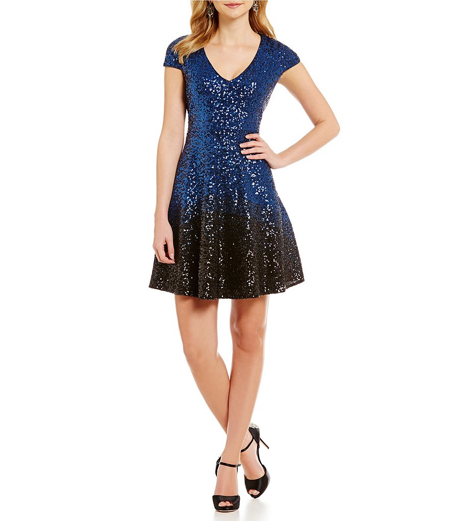 Belle Badgley Mischka Wendy Ombre Sequined Fit-and-Flare Dress