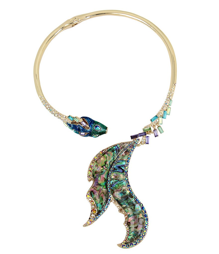Betsey Johnson Abalone Fish Tail Hinged Collar Necklace