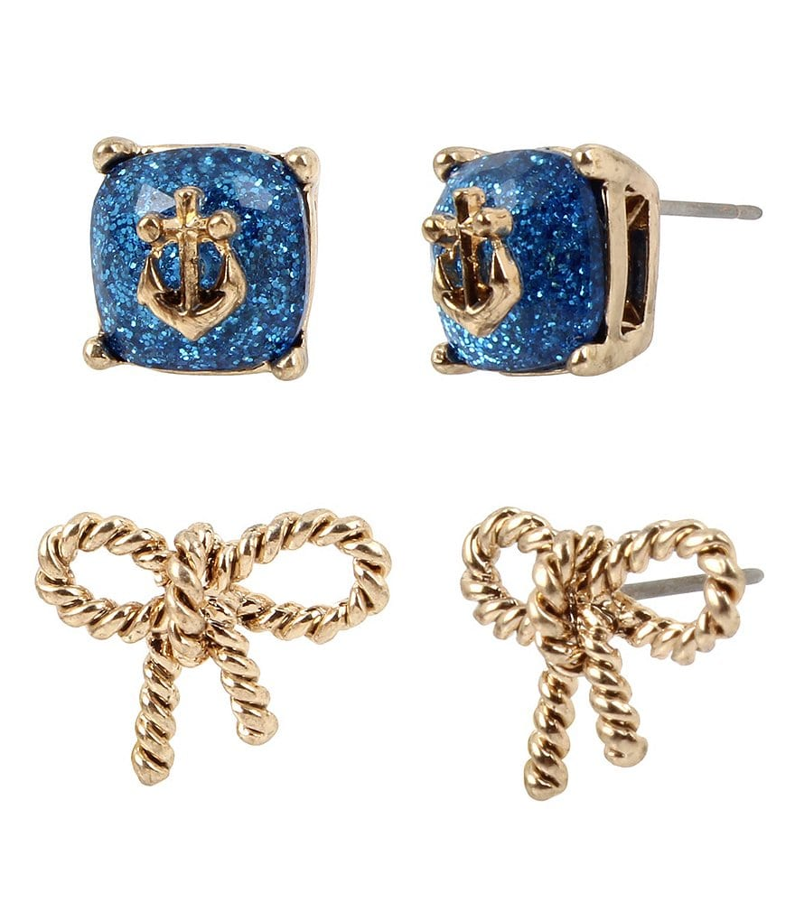 Betsey Johnson Anchor Stone & Rope Bow Stud Earring Set