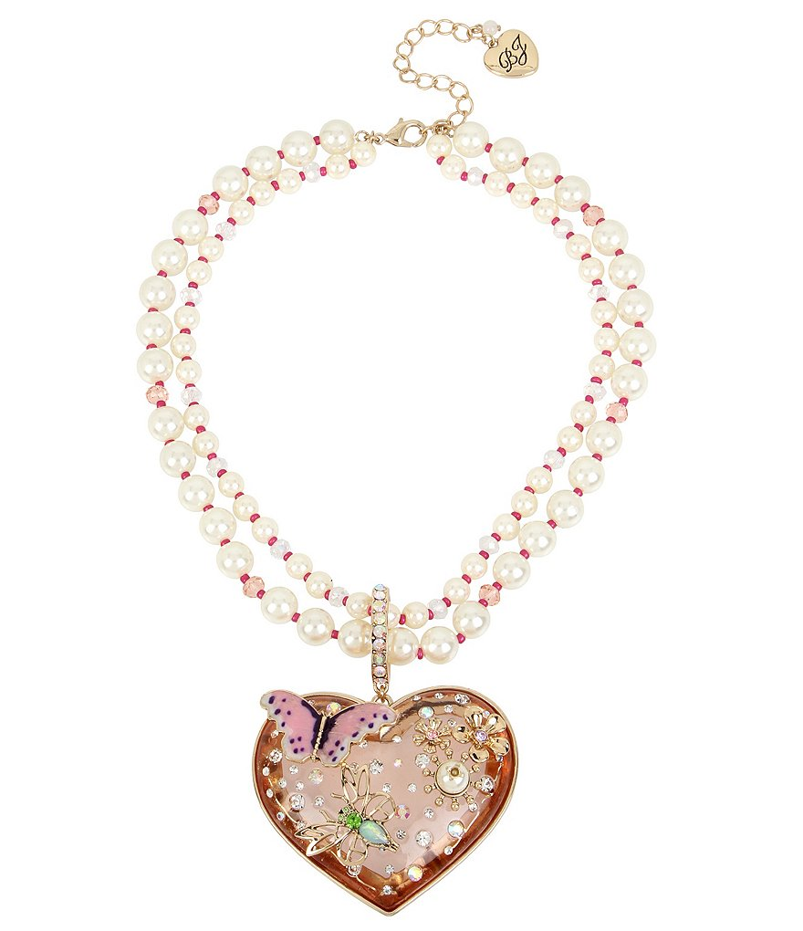 Betsey Johnson Faux-Pearl Multi-Strand Heart Pendant Necklace