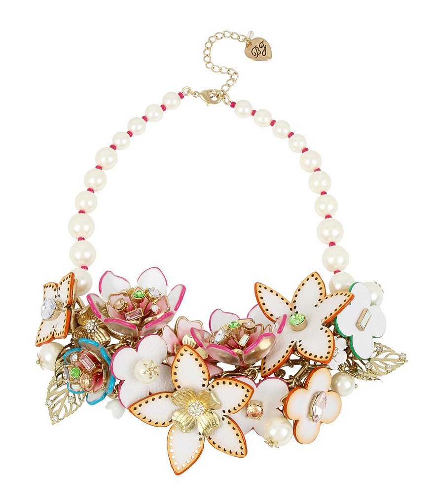Betsey Johnson Flower & Faux-Pearl Statement Necklace