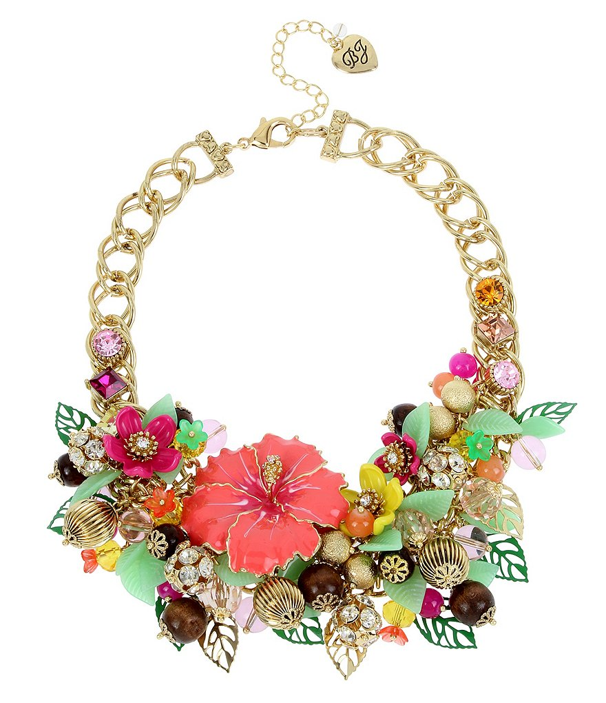 Betsey Johnson Tropical Flower Statement Bib Necklace