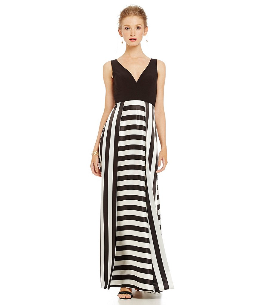 Betsy & Adam Deep V-Neck Stripe Gown