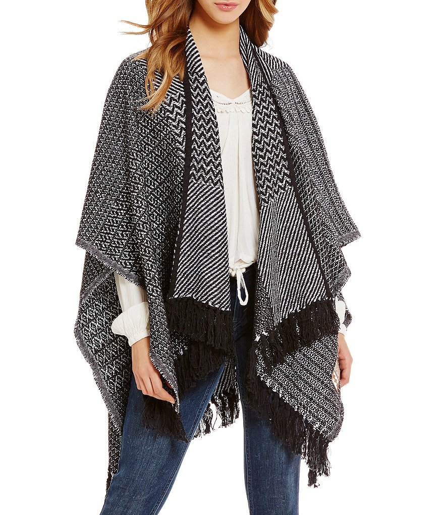 Billabong Seaside Voyage Printed Draped Fringe Cape