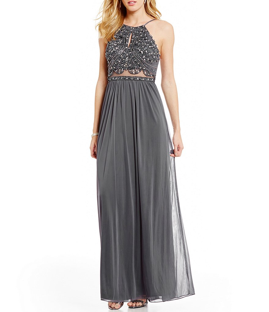 Blondie Nites High Neck Beaded Keyhole Bodice Illusion Waist Long Dress