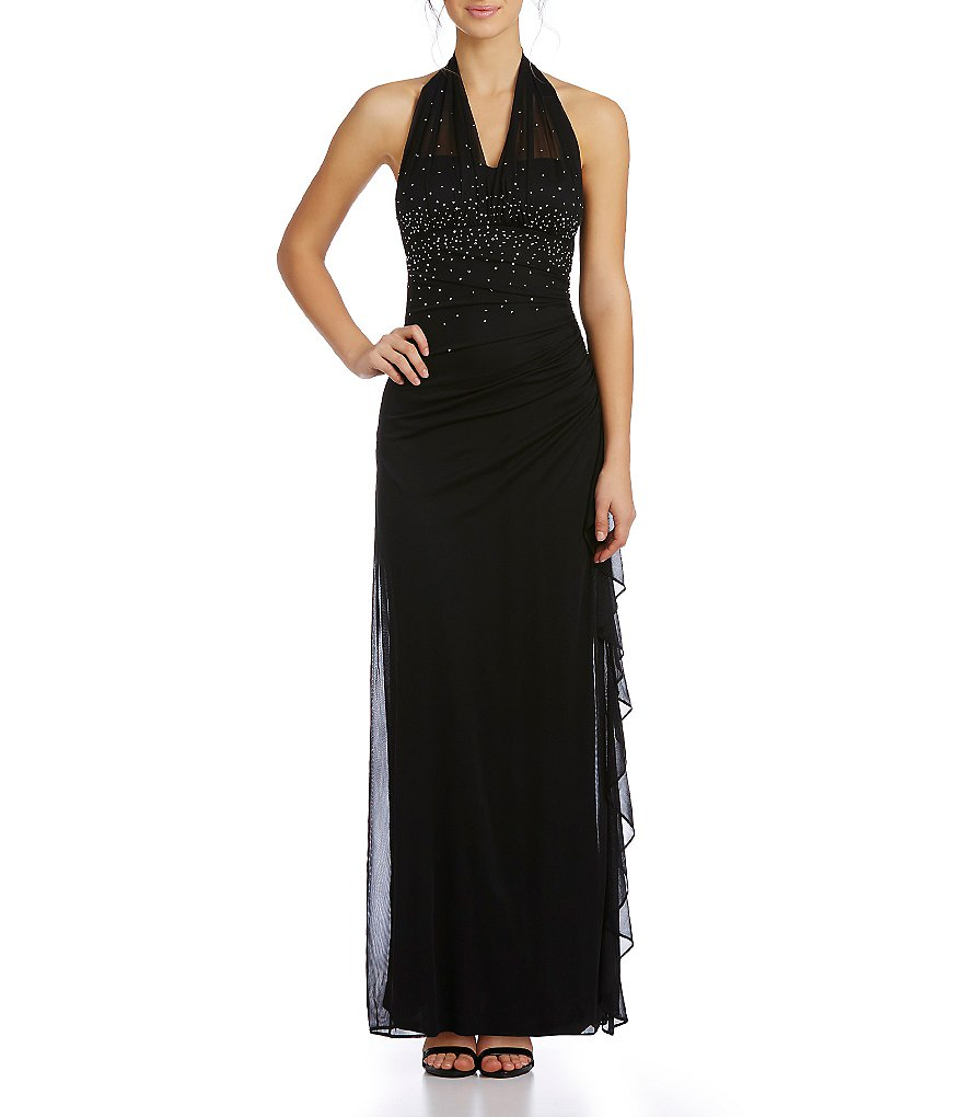 Blondie Nites Illusion Halter-Neckline Gown