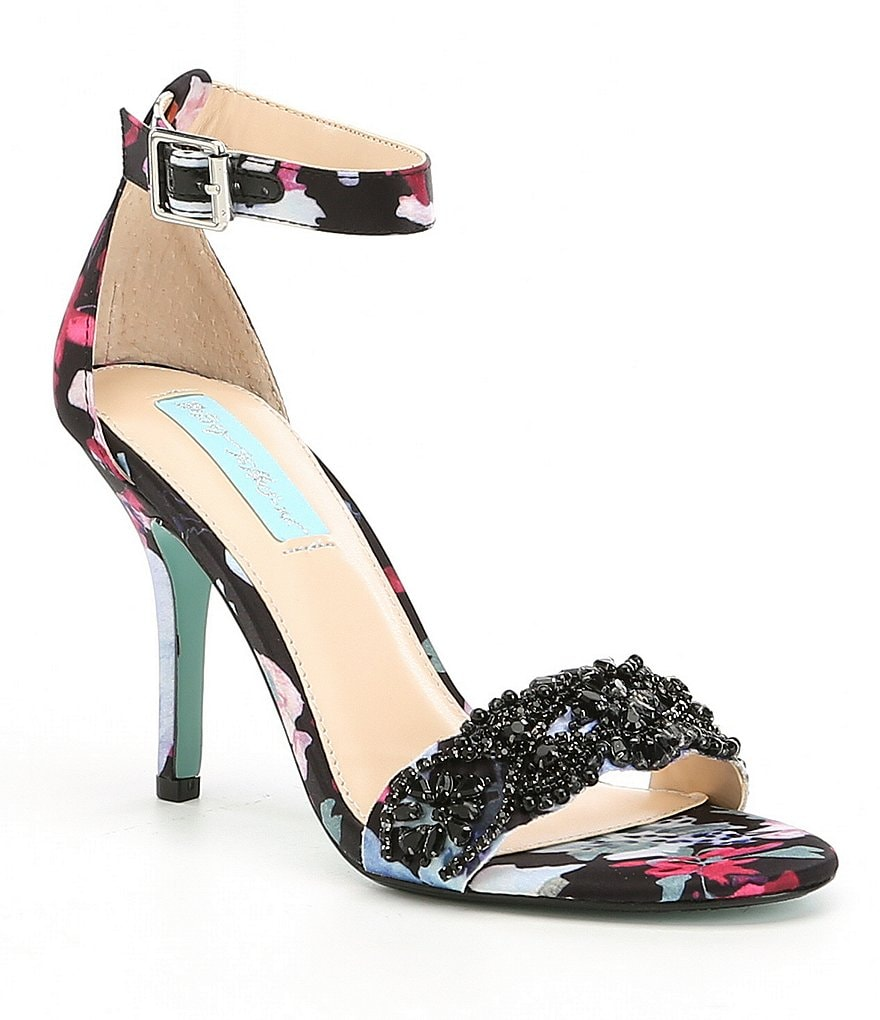 Blue By Betsey Johnson Gina Jeweled Printed Dress Sandals
