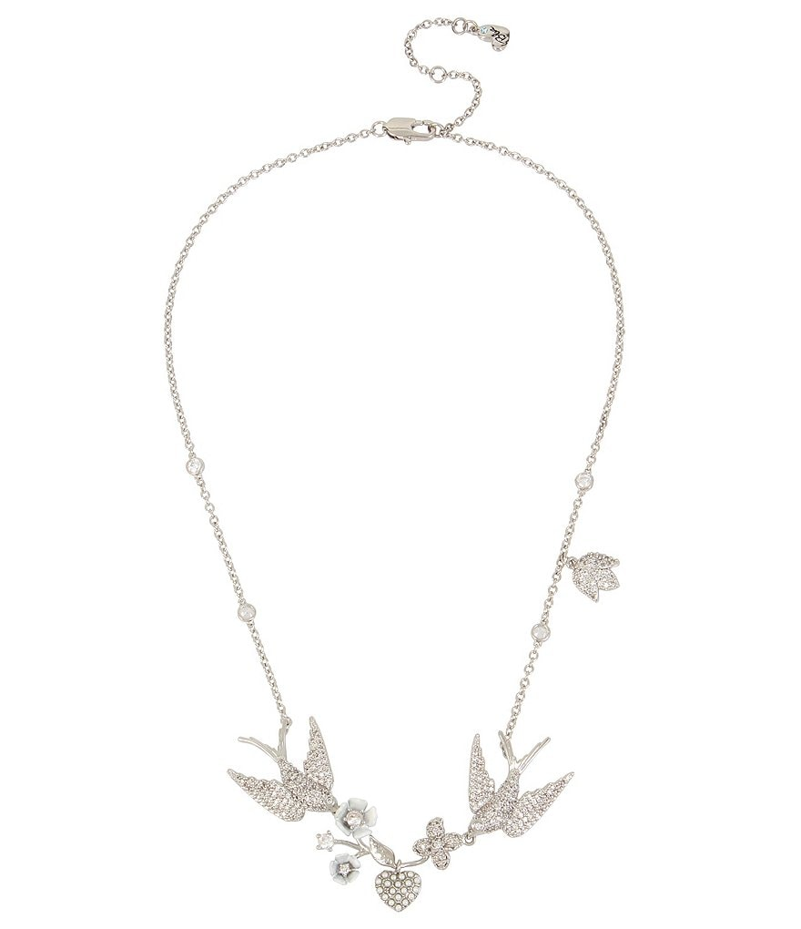 Blue by Betsey Johnson Love Birds Frontal Necklace