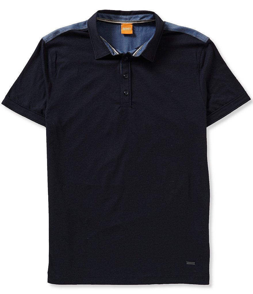 BOSS Orange Pyntax Mixed Media Short Sleeve Polo Shirt