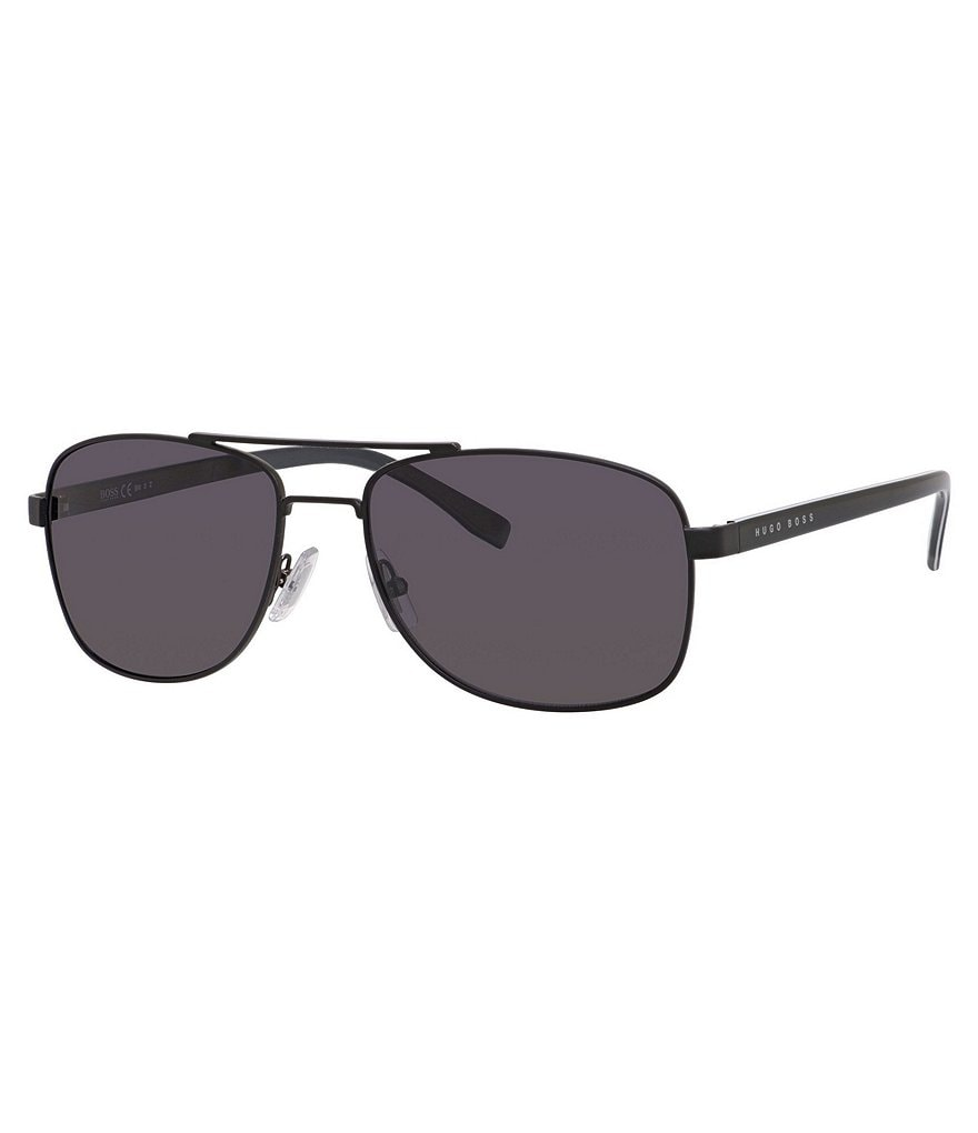 BOSS Polarized Metal Rectangular Navigator Sunglasses