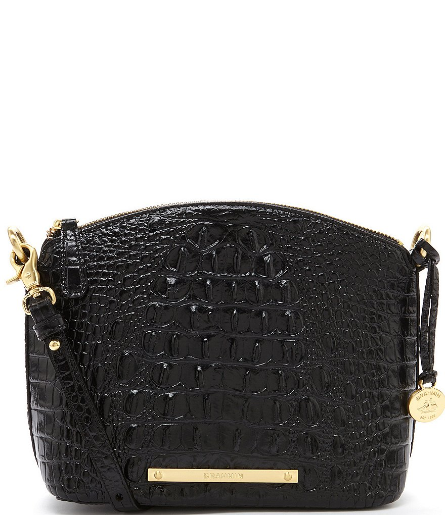 Brahmin Melbourne Collection Mini Duxbury Crocodile-Embossed Cross-Body Dome Bag