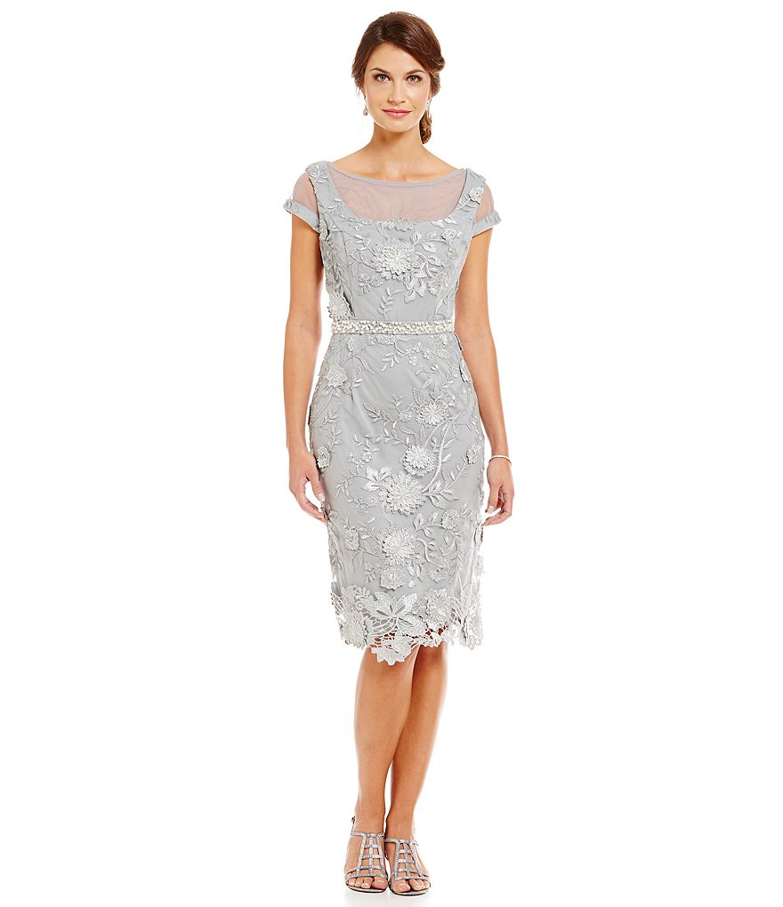 Brianna Illusion Dimensional-Lace Short Sleeve Sheath Dress
