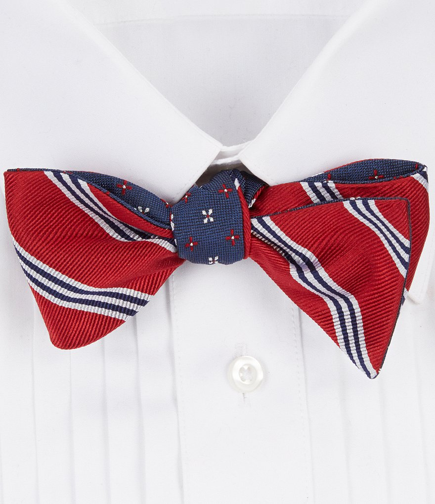 Brooks Brothers Mini Alternate Flower/Striped Reversible Silk Bow Tie