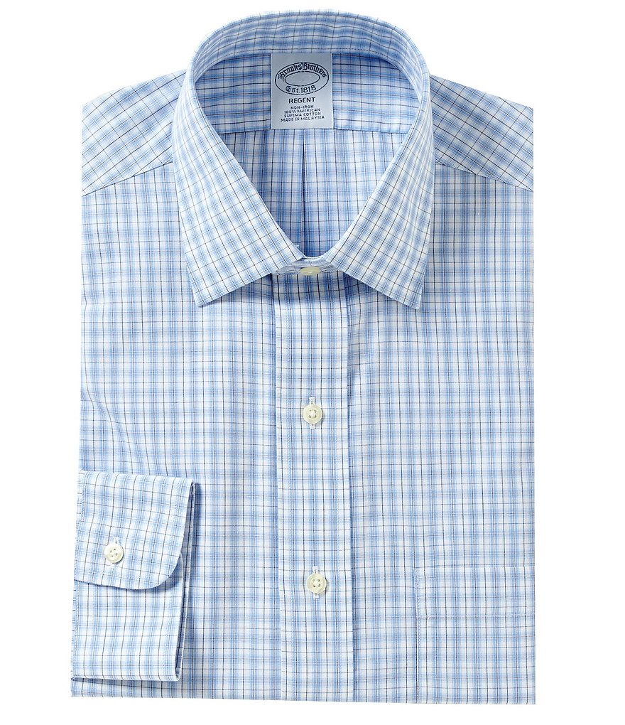 Brooks Brothers Non-Iron Regent Fit Fitted Classic-Fit Plaid Spread Collar Dress Shirt