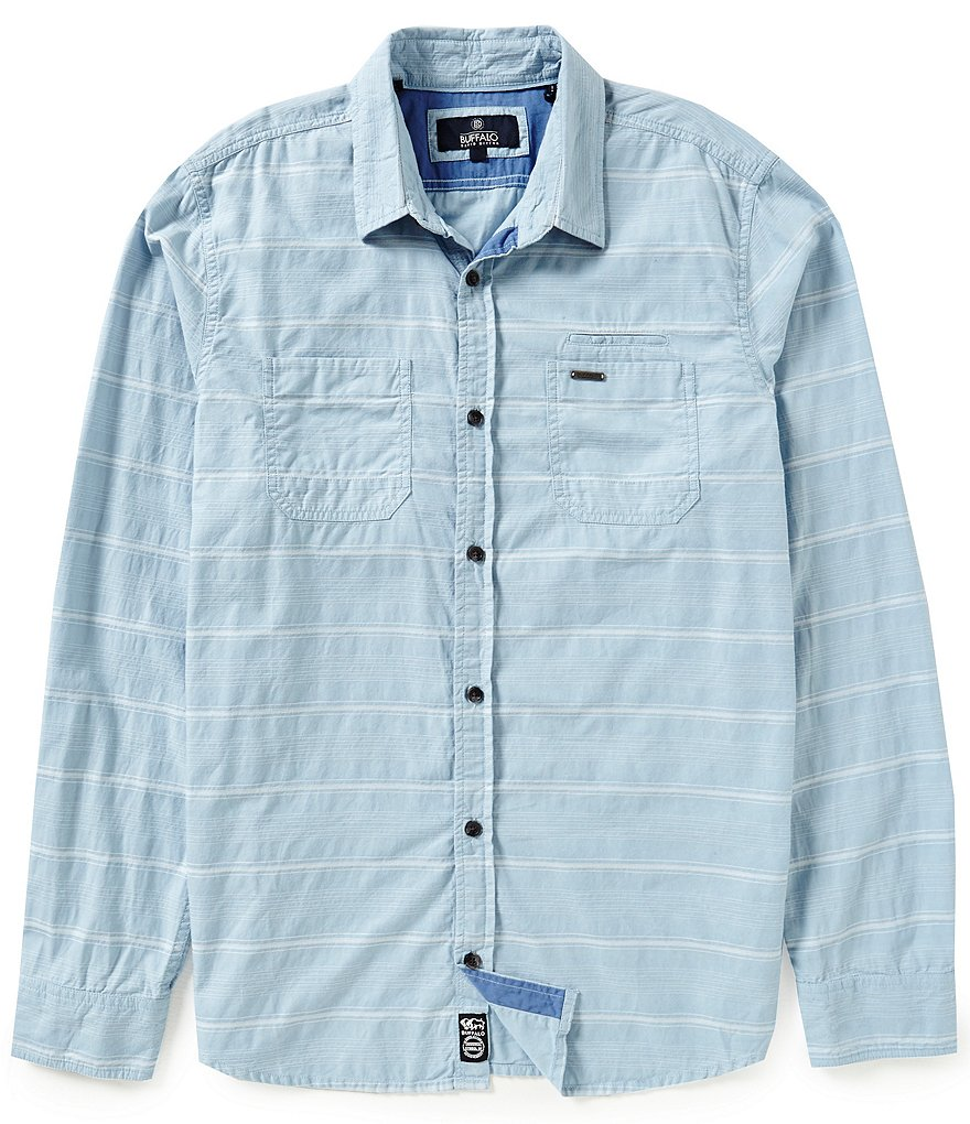 Buffalo David Bitton Long-Sleeve Horizontal-Textured-Stripe Woven Shirt