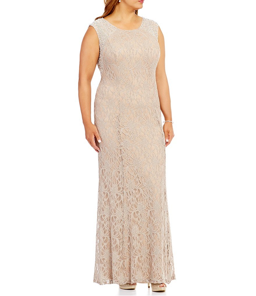 Cachet Plus Caviar Beaded Back Lace Gown