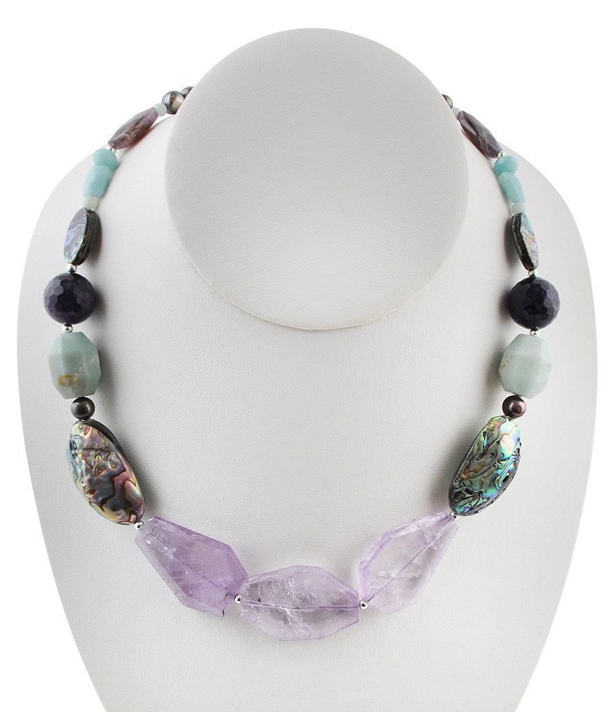 Calvary Amazonite, Amethyst & Abalone Statement Necklace