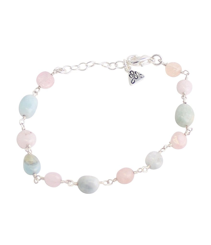 Calvary Sterling Silver & Pastel Agate Rosary Bead Bracelet