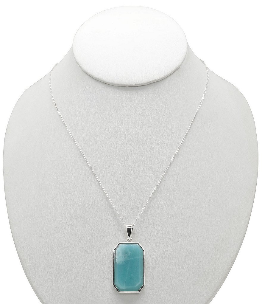 Calvary Sterling Silver and Amazonite Rectangle Pendant Necklace
