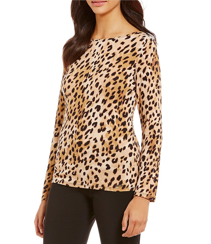 Calvin Klein Animal Print Liquid Jersey Long Sleeve Boat Neck Tee