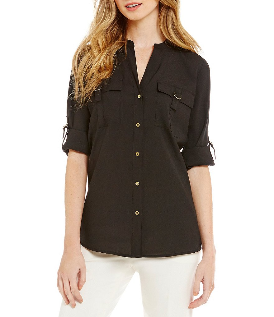 Calvin Klein D-Ring Pocket Roll Tab Sleeve Blouse