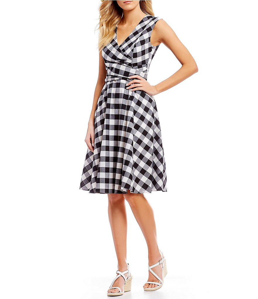 Gingham Fit & Flare Faux Wrap Dress by Calvin Klein