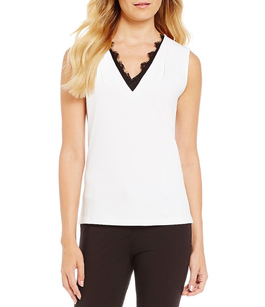 Calvin Klein Lace Trim V-Neck Matte Jersey Top