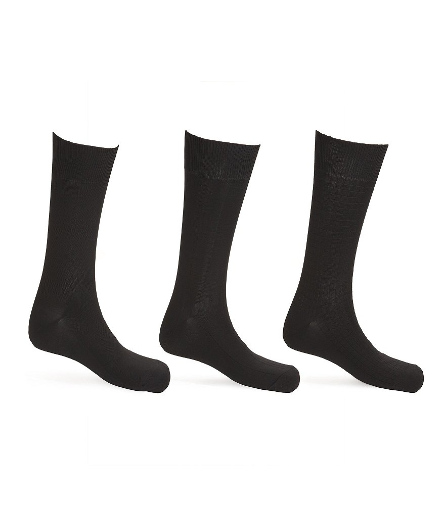 Calvin Klein Microfiber Mid-Calf Dress Socks 3-Pack