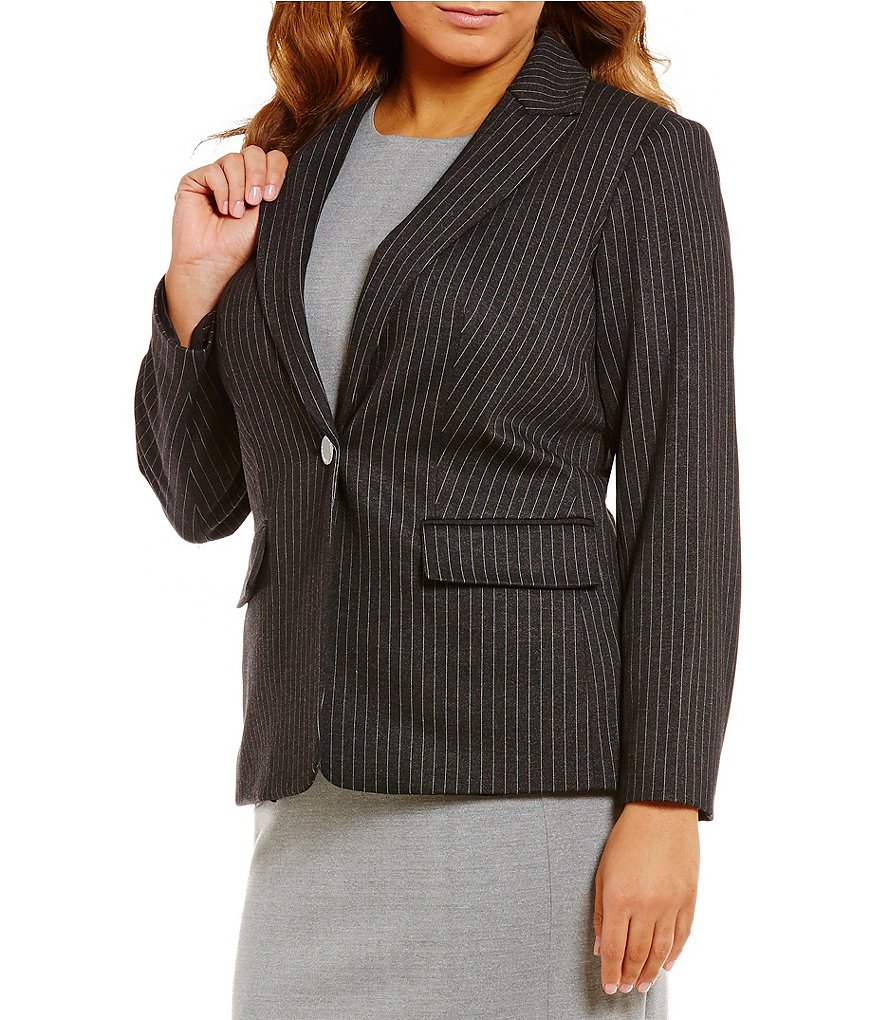 Calvin Klein Plus Notched Lapel One-Button Front Pinstripe Jacket