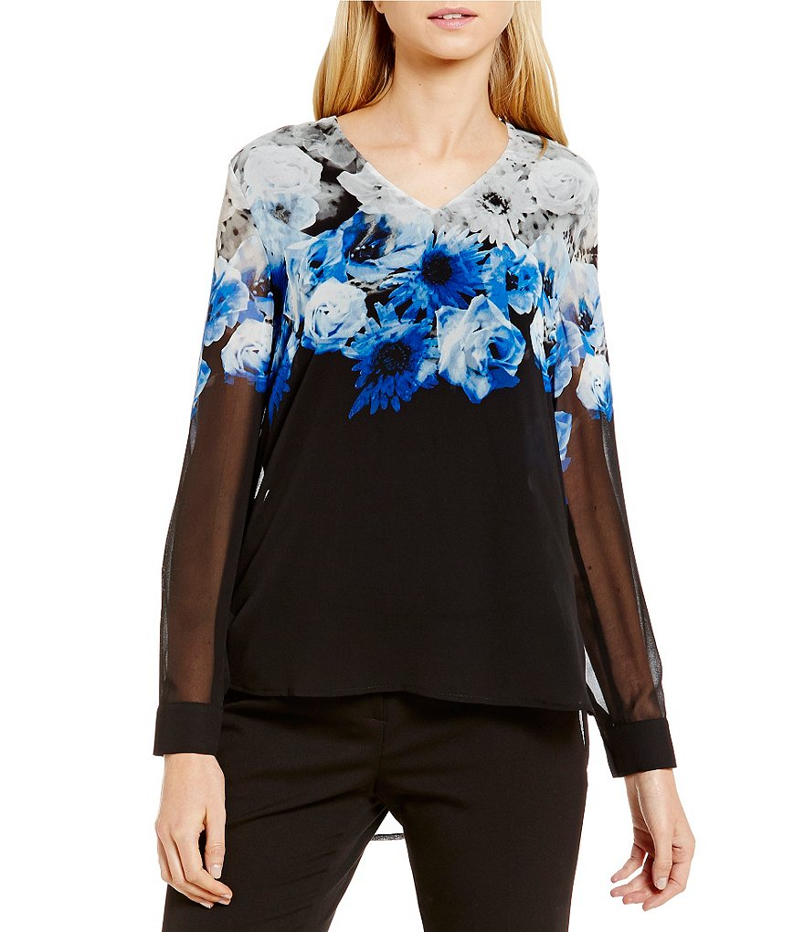 Calvin Klein Printed Chiffon V-Neck Hi-Low Top