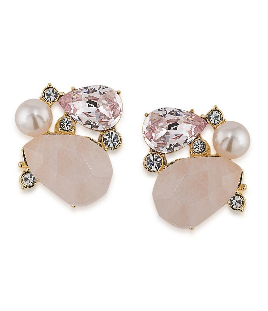 Carolee Garden Party Rose Quartz & Faux-Pearl Cluster Clip-On Earrings