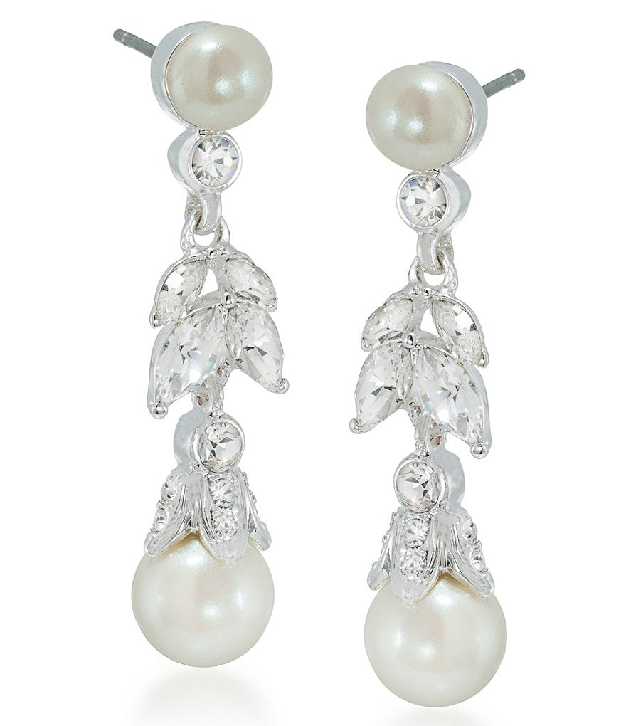 Carolee Faux-Pearl Floral Drop Statement Earrings