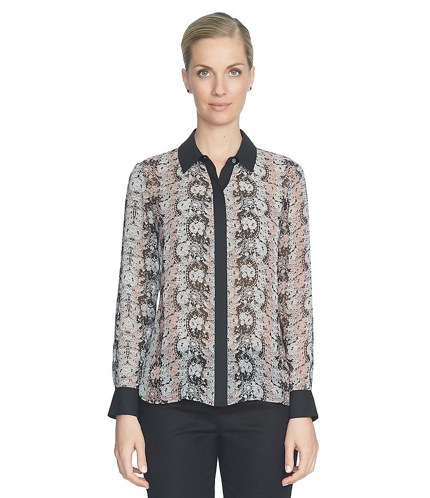CeCe Lacescape Button Front Blouse