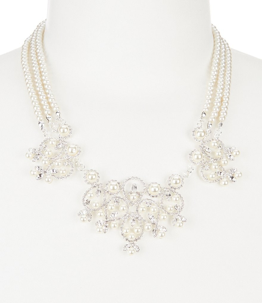 Cezanne Faux-Pearl Loops Statement Necklace