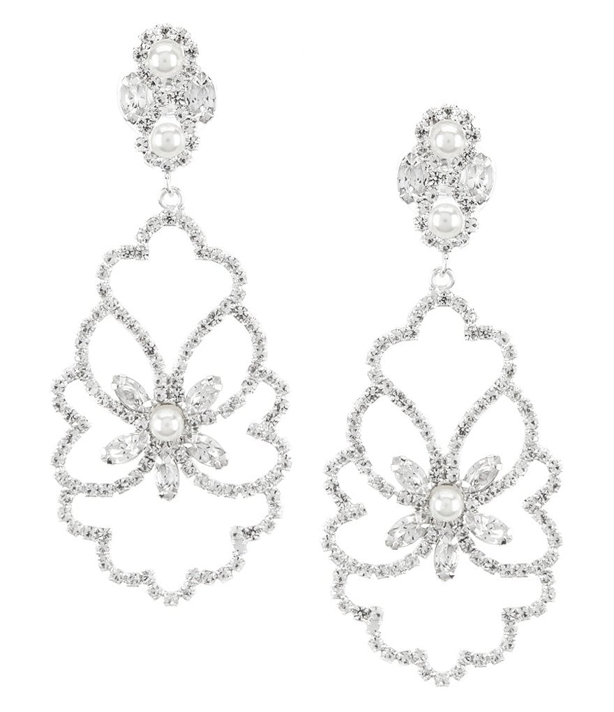 Cezanne Rhinestone & Faux-Pearl Leaf Statement Chandelier Earrings