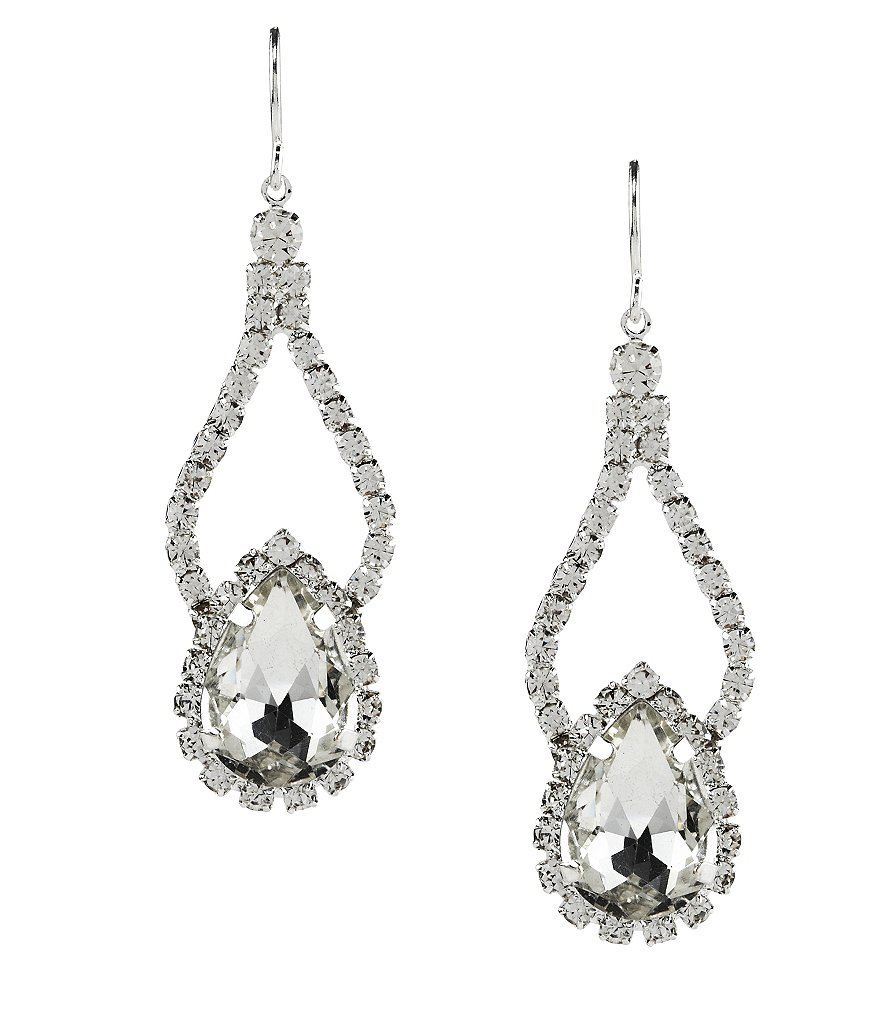 Cezanne Rhinestone Pear Shape Double Drop Statement Earrings