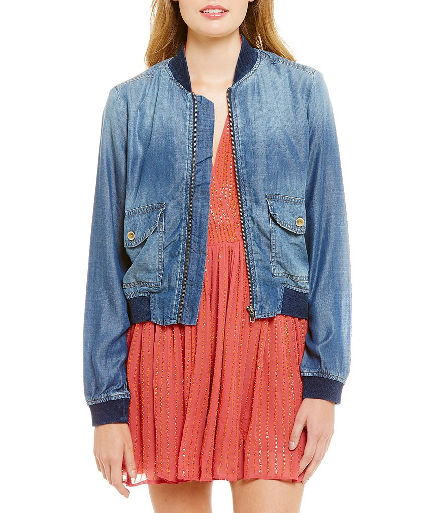 Chelsea & Violet Chambray Front Zip Bomber Jacket