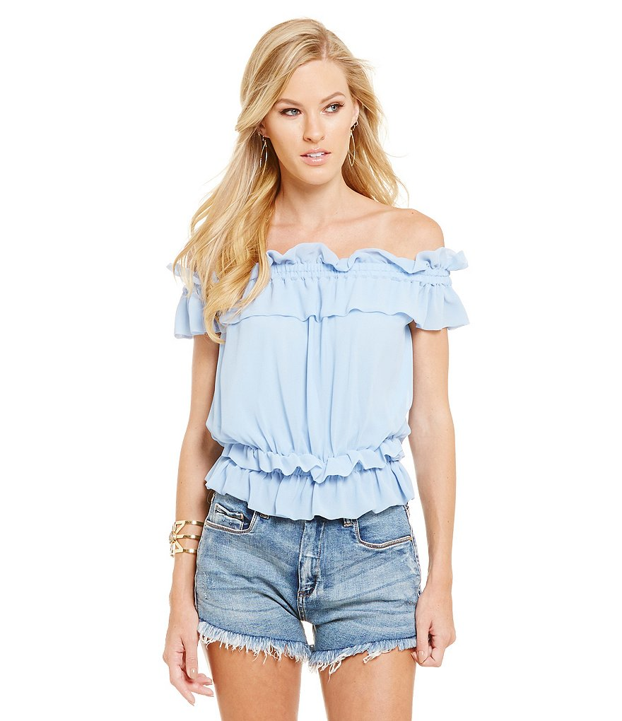 Chelsea & Violet Cold Shoulder Short Sleeve Ruffle Blouse