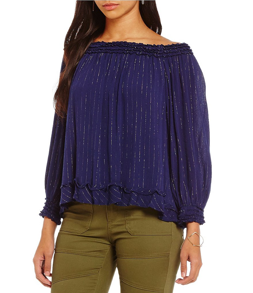 Chelsea & Violet Off-the-Shoulder Long Sleeve Metallic Striped Blouse