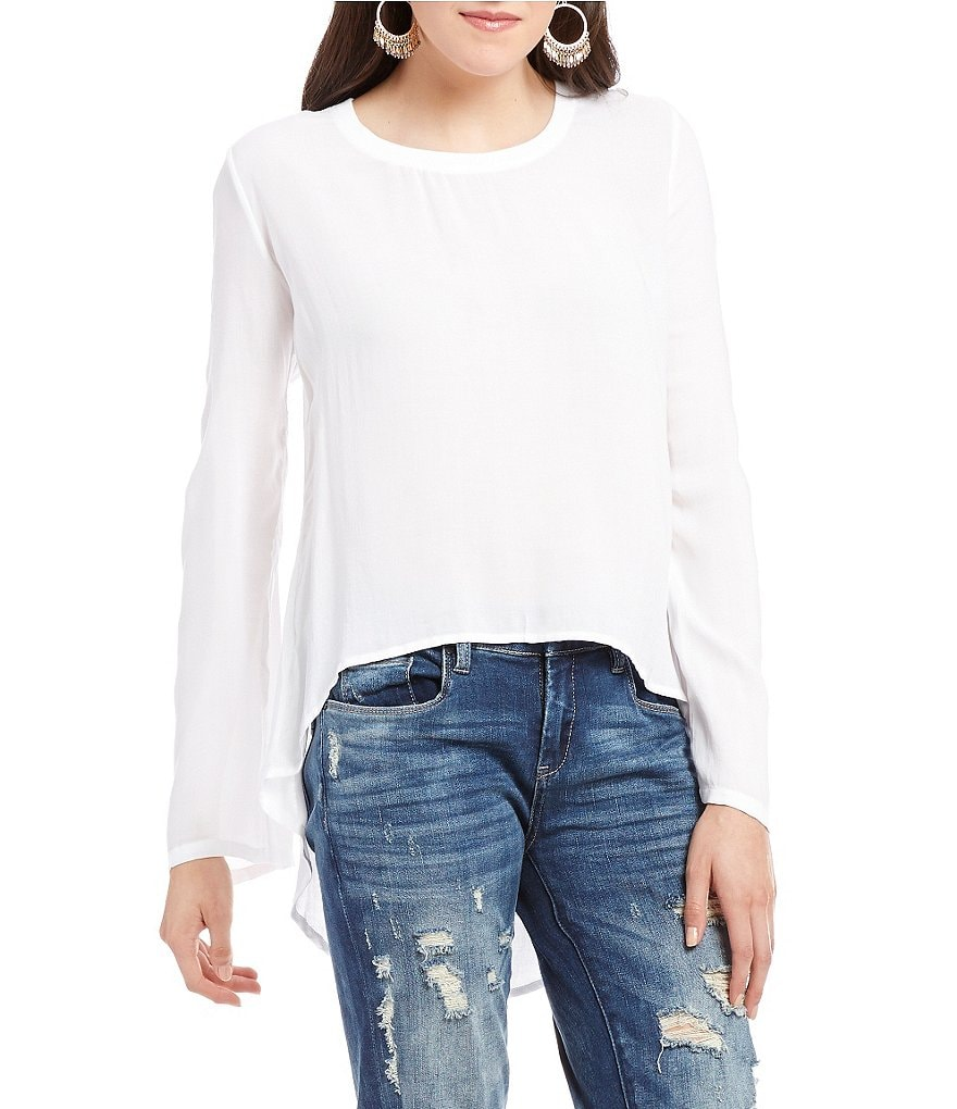 Chelsea & Violet Rib Neck Banded Collar Long Sleeve Top