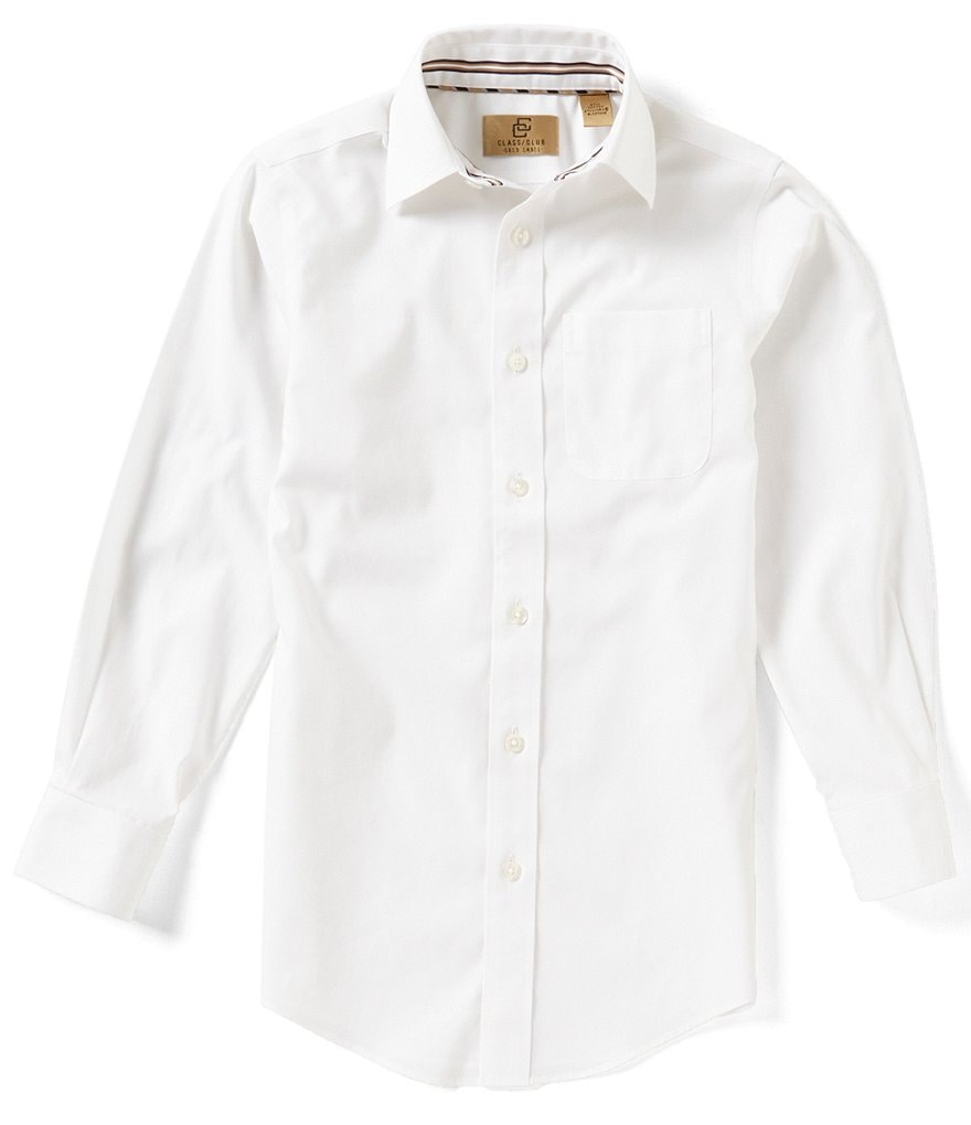 Class Club Gold Label Big Boys 8-20 Non-Iron Long-Sleeve Pinpoint Oxford Button-Front Shirt