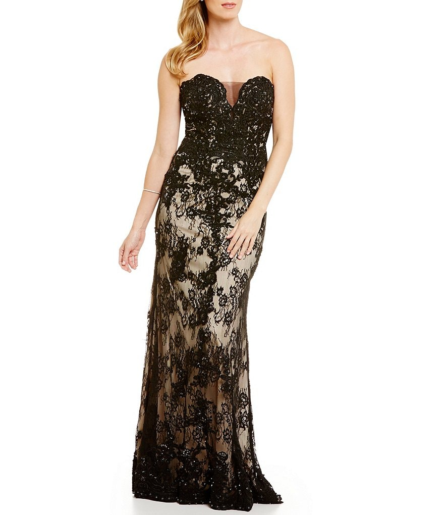 Coya Collection Strapless Embroidered Lace Long Dress