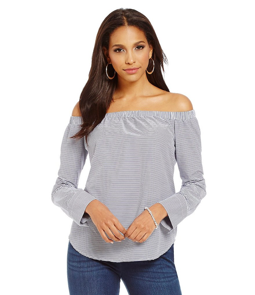 Cremieux Barb Off-the-Shoulder Long Sleeve Blouse