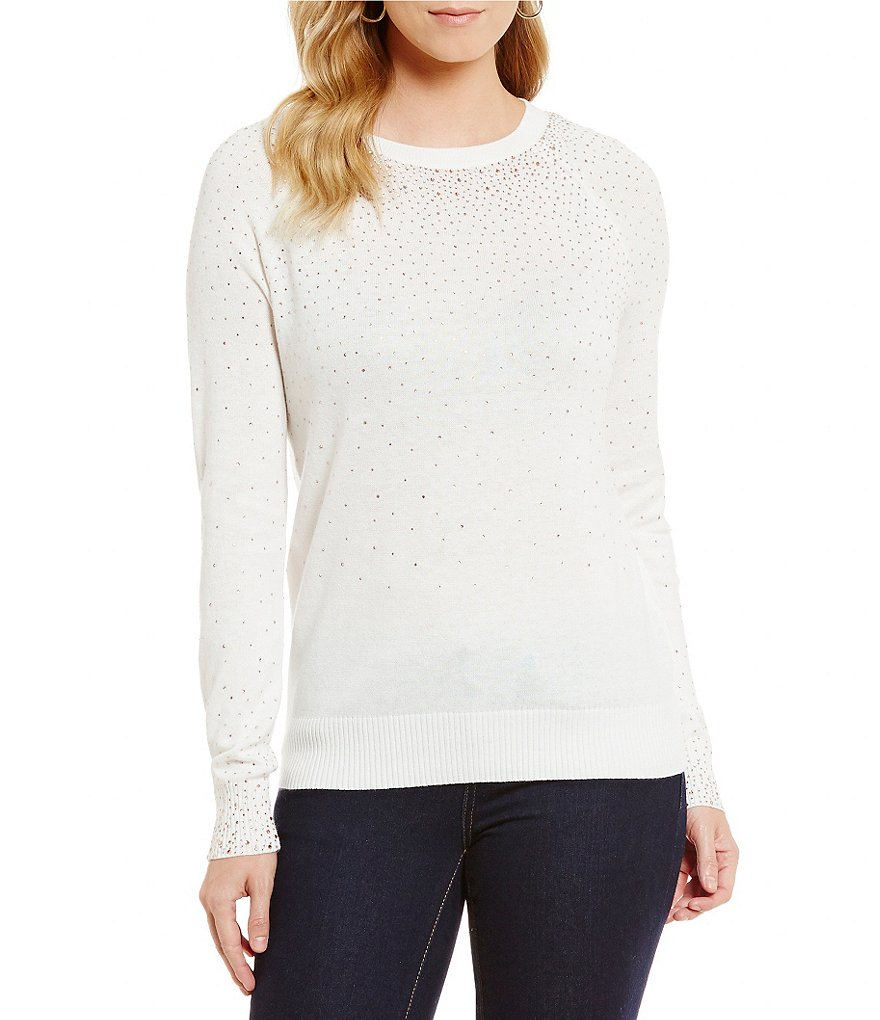 Cremieux Dani Embellished Long Sleeve Sweater