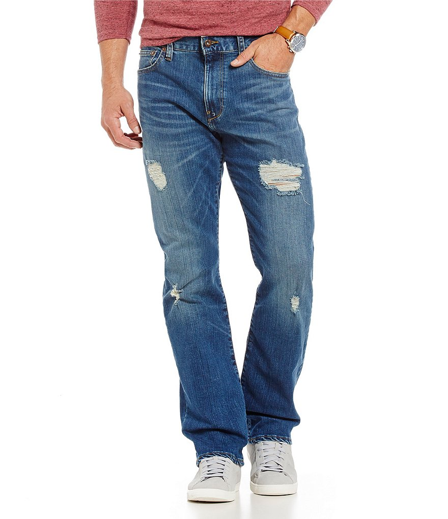 Cremieux Jeans Straight-Fit Distressed Stretch Jeans